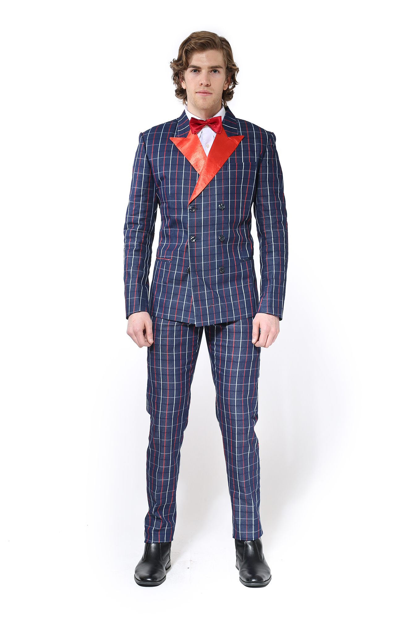 big sale new styles attractive style Navy Blue Pinstripe Suit with Red Satin Lapel