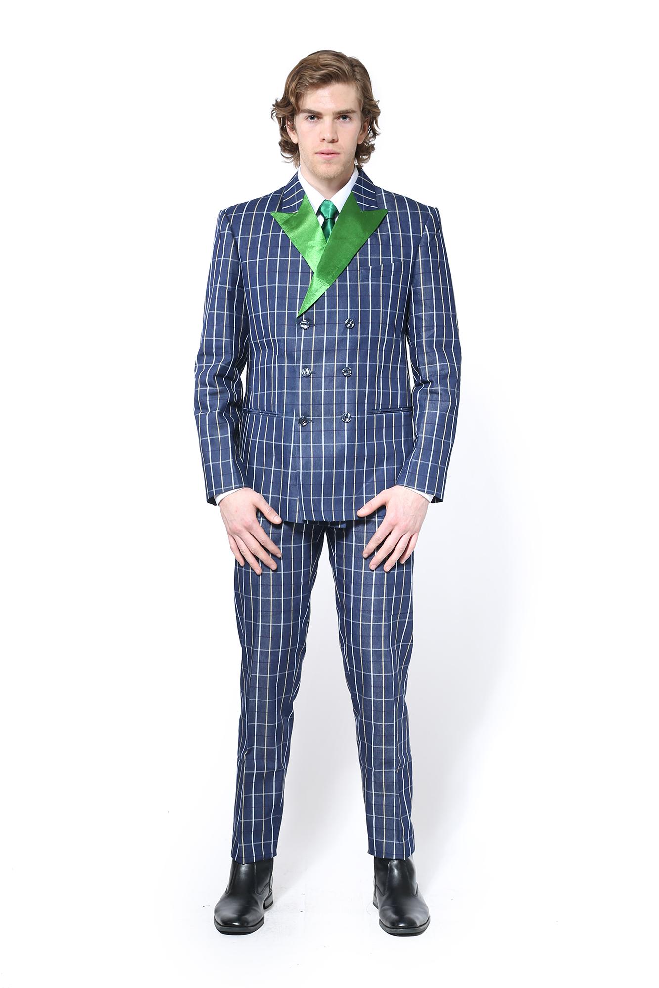 1700d0f1 Home / Clavon Leonard / Season / FW17 M / Navy Blue Pinstripe Suit with  Green Satin Lapel