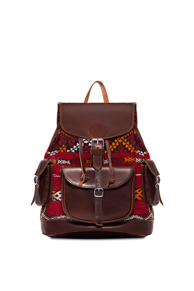 Clavon Brown Leather Knit Bookbag